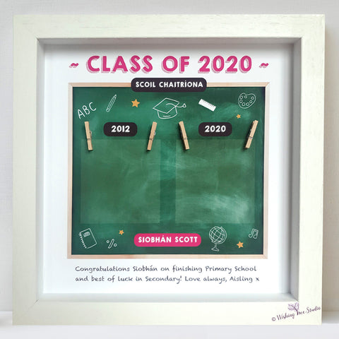 School graduation photo frame. First day of school. Las day of school.