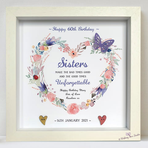 Sisters Floral Heart frame