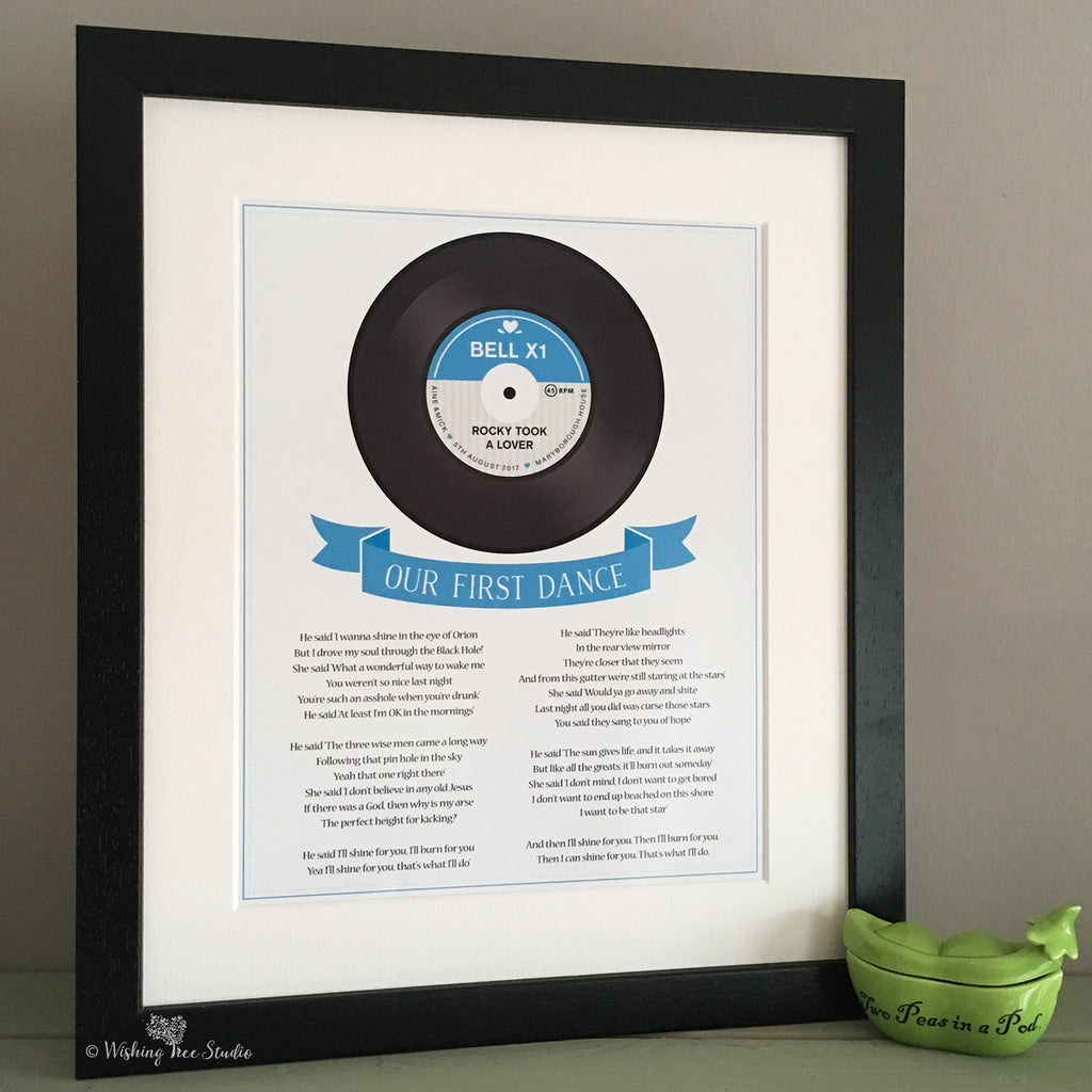 Song Lyrics Vinyl Record print | Wishing Tree Studio