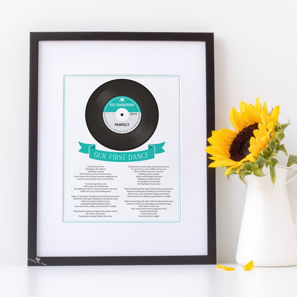 Song Lyrics Vinyl Record print