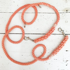 Solid Coral Convertible Leash- Wild Clementine Co.