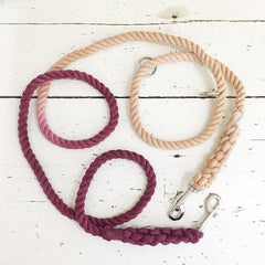 Maroon and Tan Convertible Leash- Wild Clementine Co.