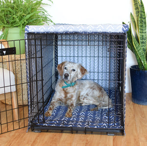 navy dog crate cover