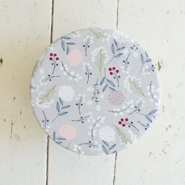 Reusable Bowl Covers - Grey Floral 1