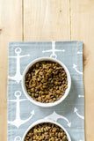 Grey Anchors Pet Bowl Mat