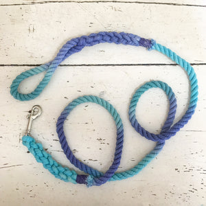 Ombre Dog Leash- Aqua, Teal, and Indigo - Wild Clementine Co.