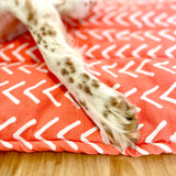 Dog Crate Mat - Coral Herringbone