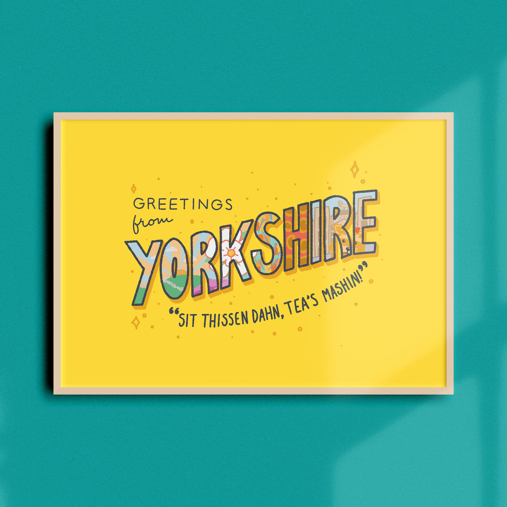 Greetings from Yorkshire A4 Print