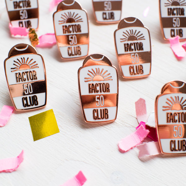factor 50 enamel pin