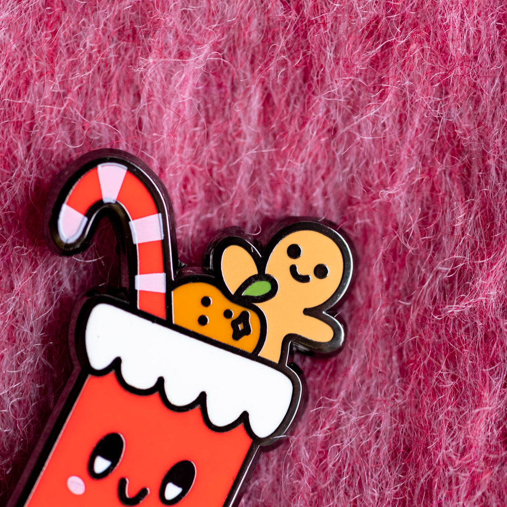 Happy Christmas Stocking Pin - Finest Imaginary