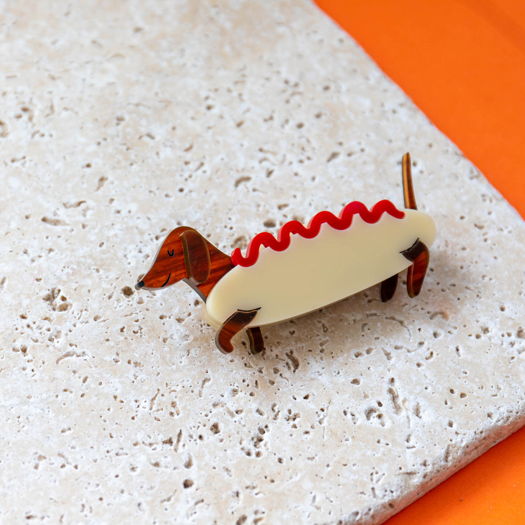 Dachshund Hot Dog Costume Brooch - Finest Imaginary