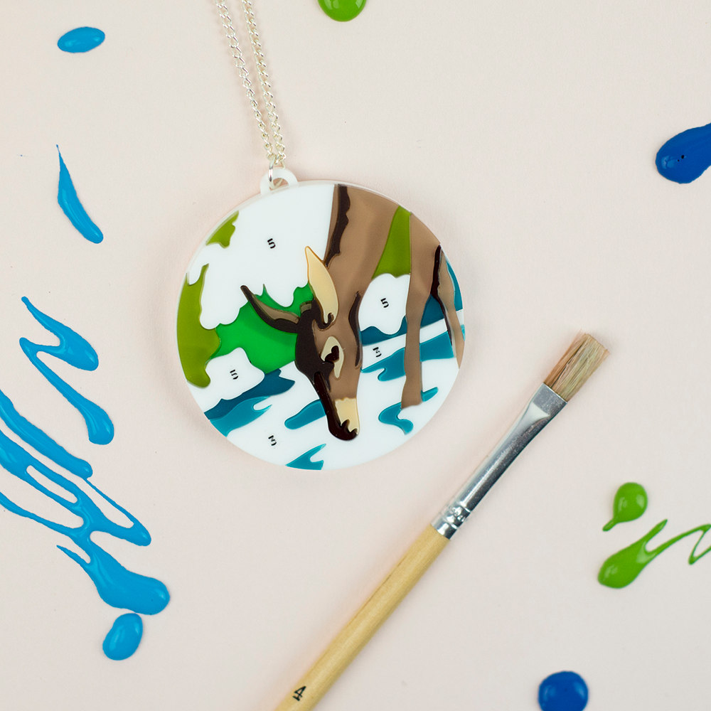 Paint by Numbers Deer Necklace - Finest Imaginary