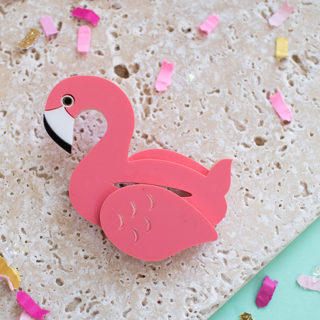 Flamingo Pool Float Brooch - Finest Imaginary
