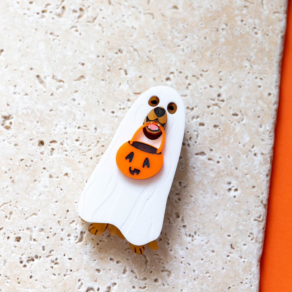 Golden Retriever Ghost Costume Brooch - Finest Imaginary