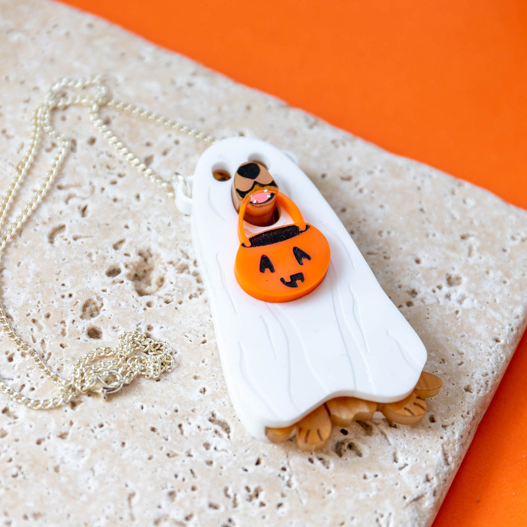 Golden Retriever Ghost Costume Necklace - Finest Imaginary