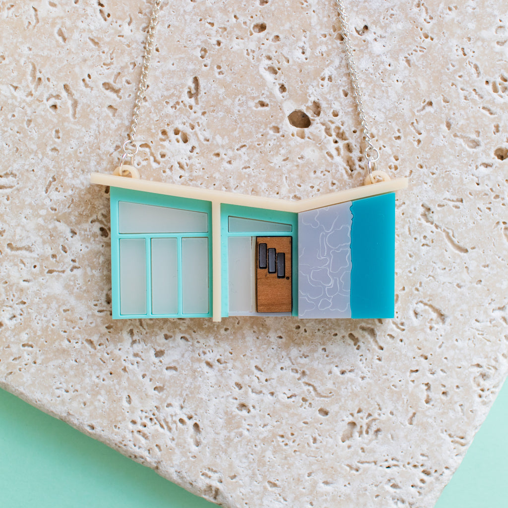 Palm Springs Blue Mid Century House Necklace - Finest Imaginary
