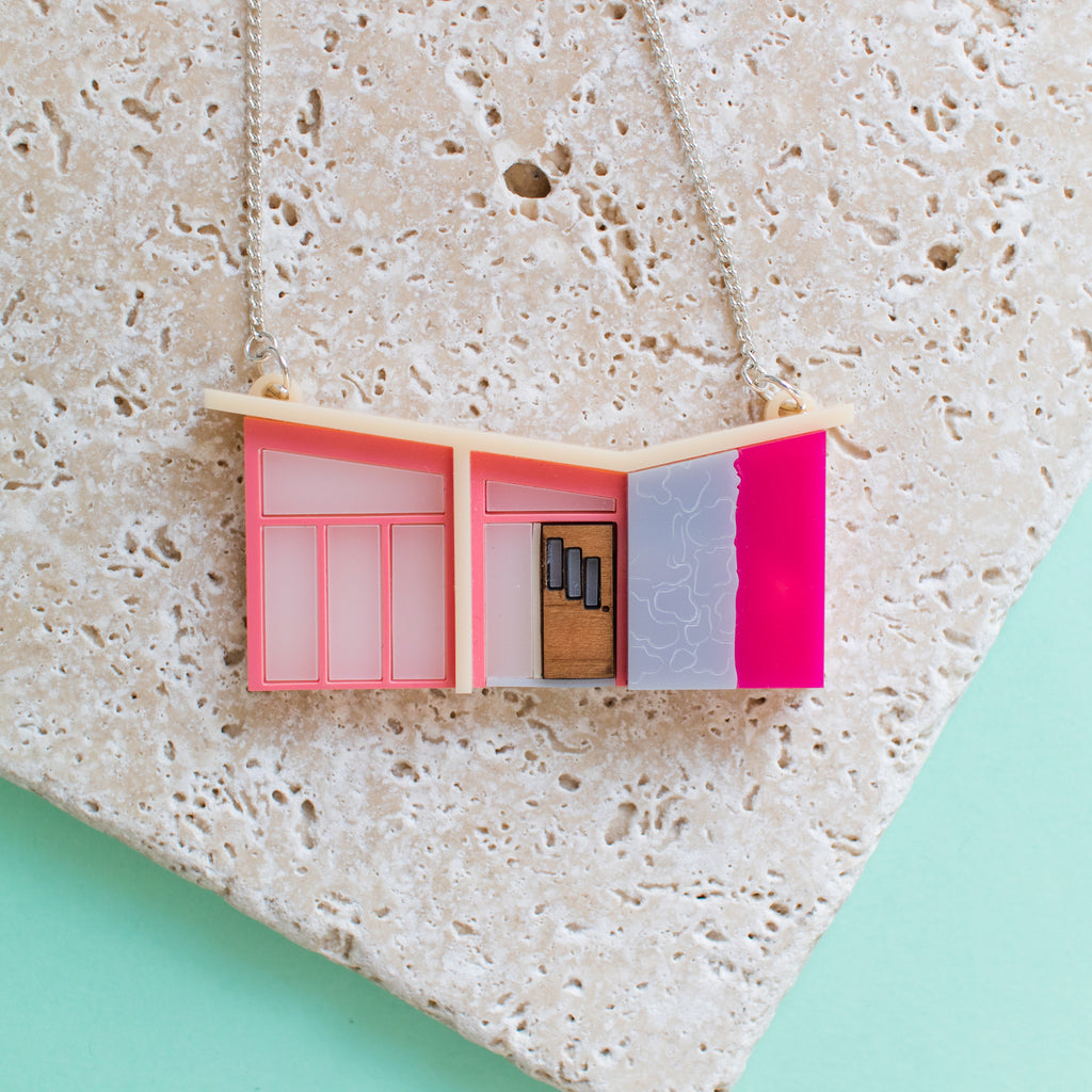 Palm Springs Pink Mid Century House Necklace - Finest Imaginary