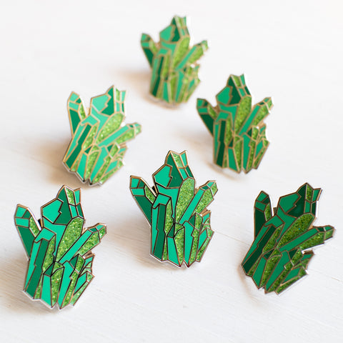 Limited Edition Teal Crystal Enamel Pin