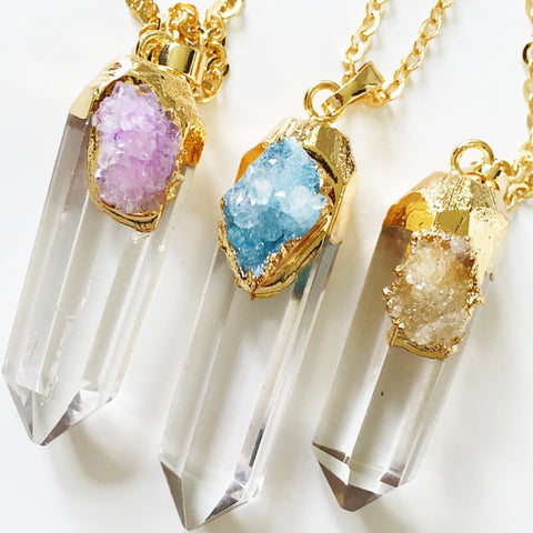 'Zooey' crystal necklace with druzy detail - 3 colors