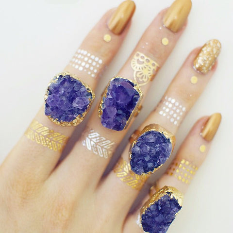 'Starlight' purple druzy amethyst ring