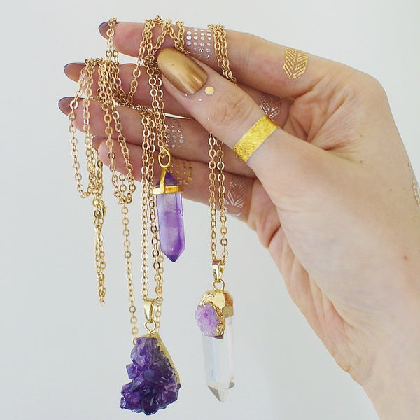 'Starry-eyed' druzy amethyst crystal necklace