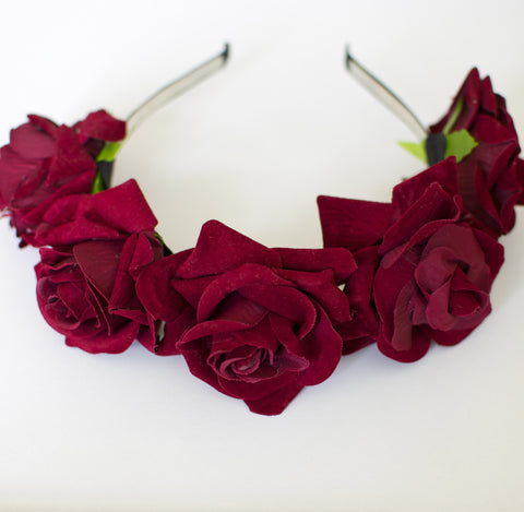 'Lana' red rose flower crown