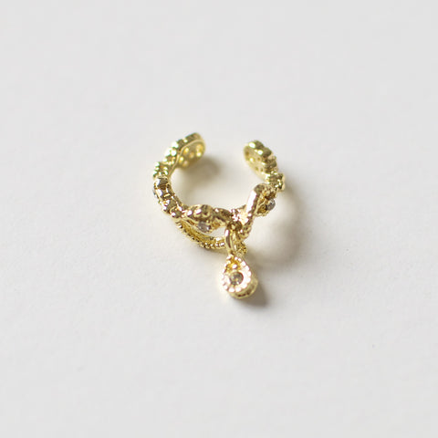 'Valentina' gold ear cuff with hanging teardrop crystal