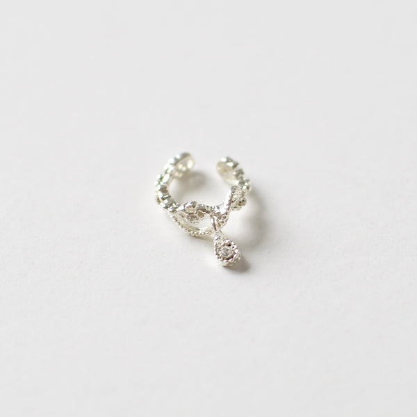 'Valentina' silver ear cuff with hanging teardrop crystal