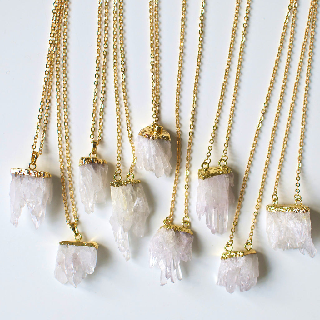 'Aurora' natural clear quartz cluster necklace
