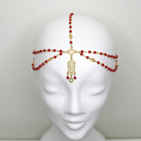 'Arabella' gold headpiece with red beads