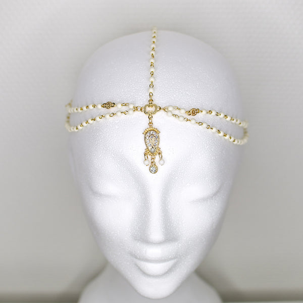 'Arabella' gold headpiece with white beads