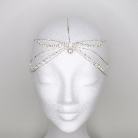'Queen of Sheba' silver headpiece with pearls