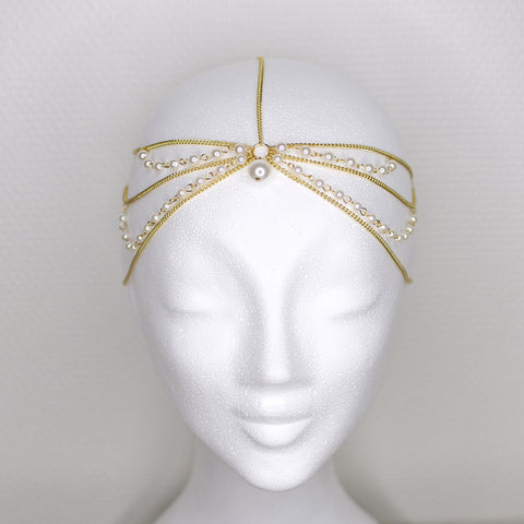 'Queen of Sheba' gold headpiece with pearls