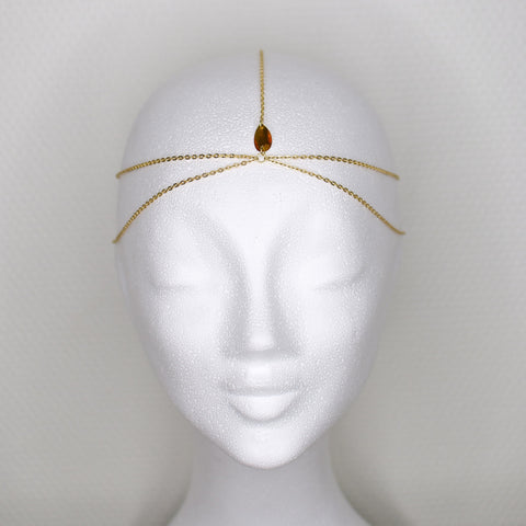 Teardrop simple gold headpiece