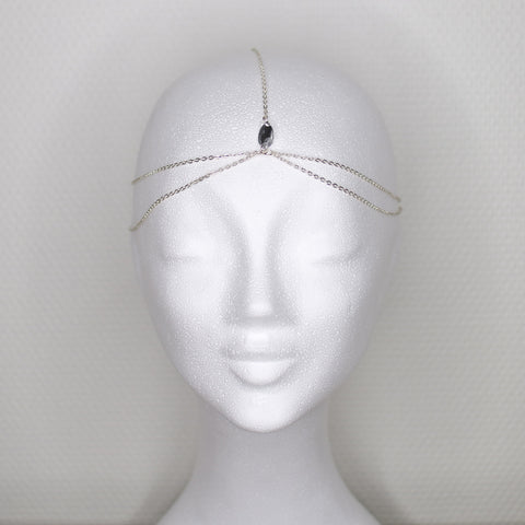 Teardrop simple silver headpiece