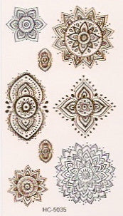 Hindu pattern gold and silver mini flash tattoos