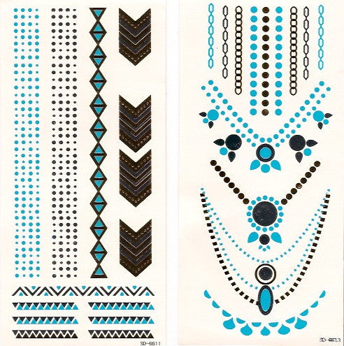 Festival favorite gold, silver and blue small flash tattoos - 2 sheets