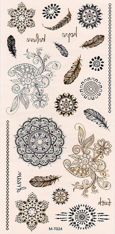 Feathers, flowers, suns gold - black & silver flash tattoos