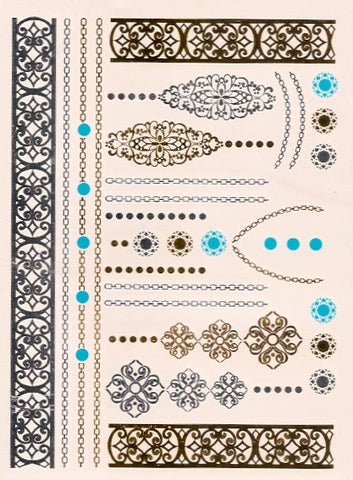 Chains and patterns gold, silver and turquoise flash tattoos