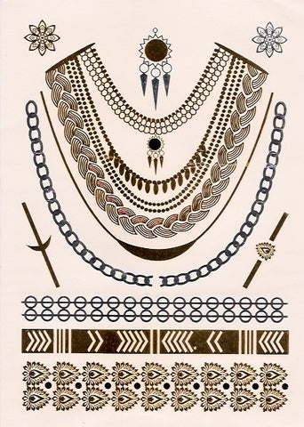 Chain jewelry gold, silver and black flash tattoos
