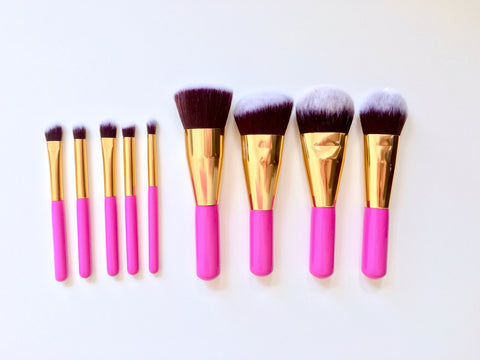 9 piece short pink brush set