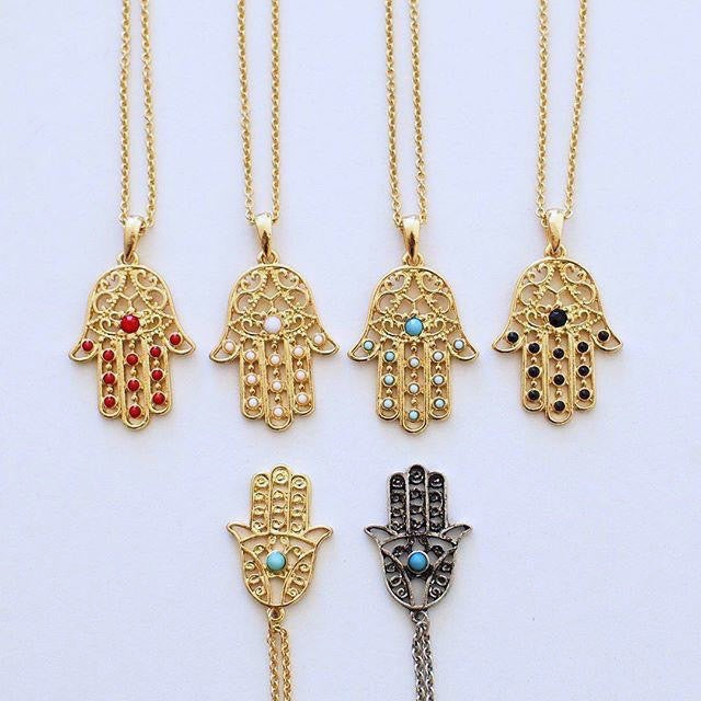 Hamsa multiple stone hand necklace - 4 colors