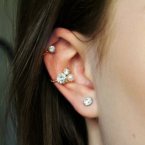 'Ava' gold double ear cuff + stud