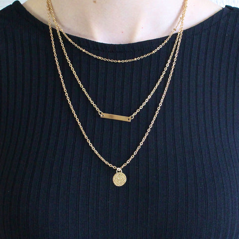 'Yara' three layered gold necklace