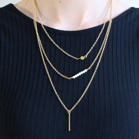 'Talisa' three layered gold necklace