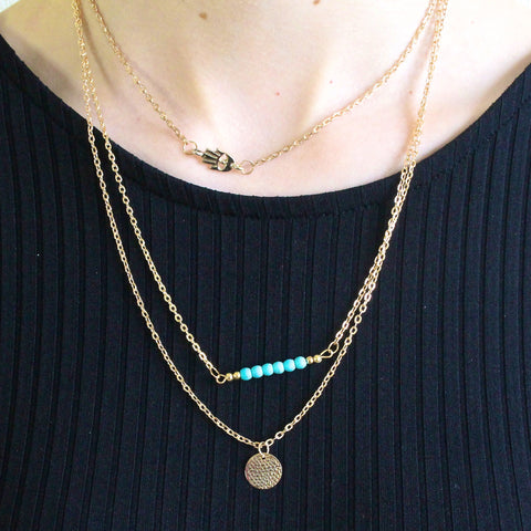 'Arya' three layered gold necklace