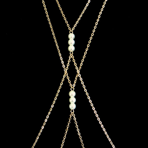 'Zaina' gold body chain with white pearls