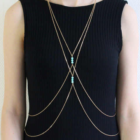 'Zaina' gold body chain with blue pearls