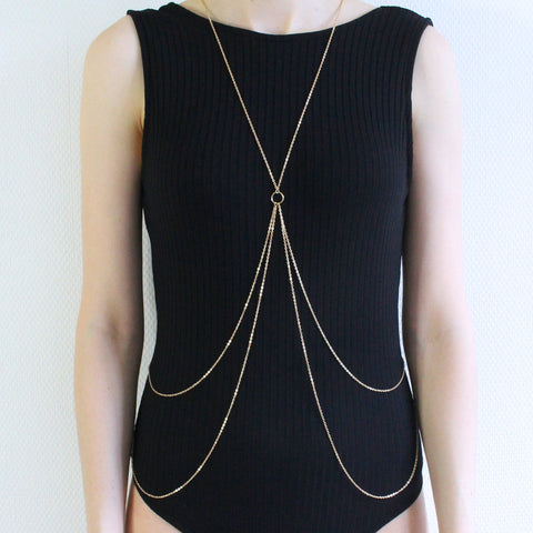 'Rebel heart' gold body chain
