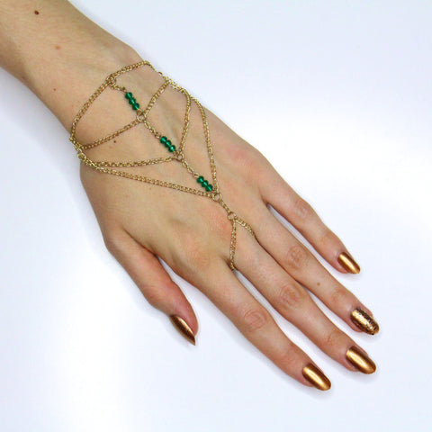 'Aria' gold hand chain with green beads
